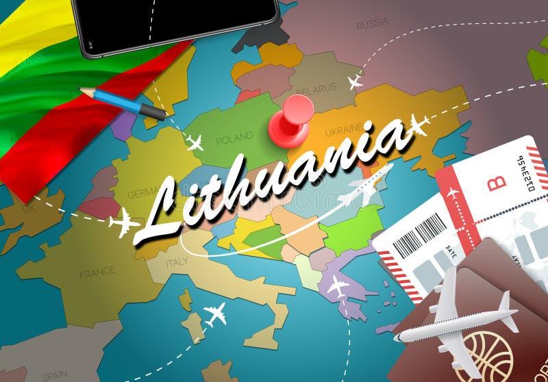 Предпосылка карты концепции перемещения Литвы с самолетами, билетами VI иллюстрация вектора