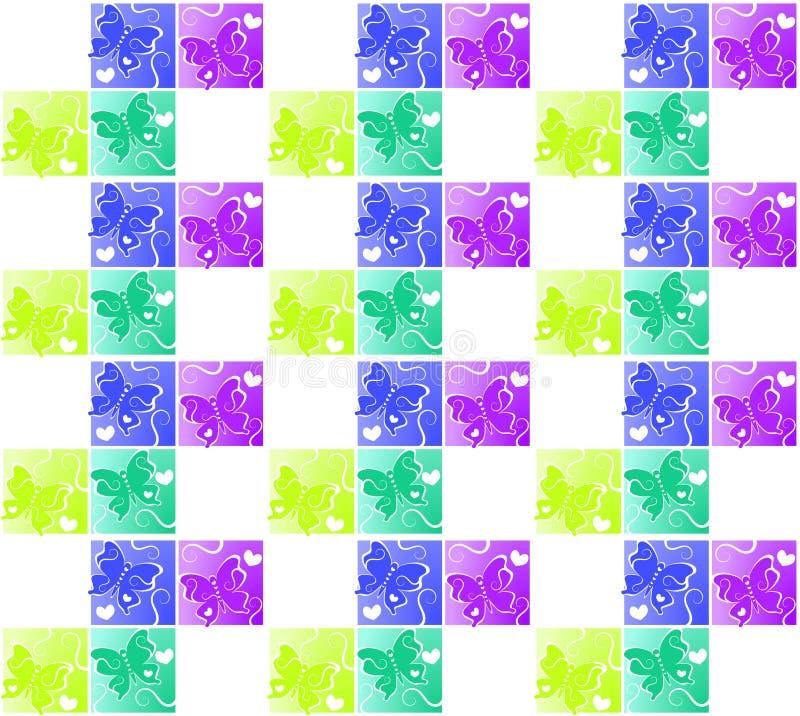 Предпосылка квадратов сердец бабочки безшовная иллюстрация штока