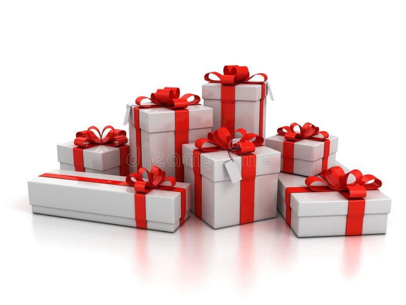 предпосылка кладет подарок в коробку над белизной иллюстрация вектора