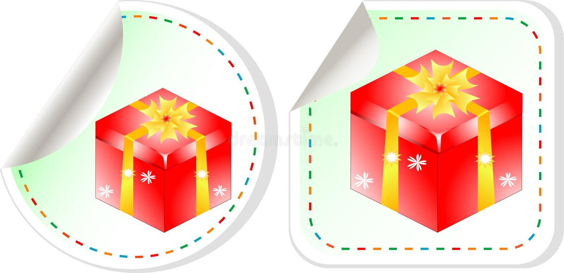 предпосылка кладет стикеры в коробку красного цвета подарка установленные бесплатная иллюстрация