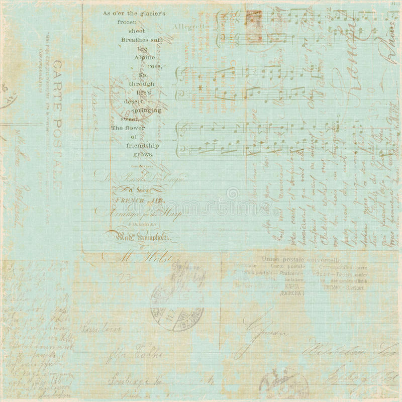 Предпосылка коллажа сценария письма сбора винограда французская стоковое фото