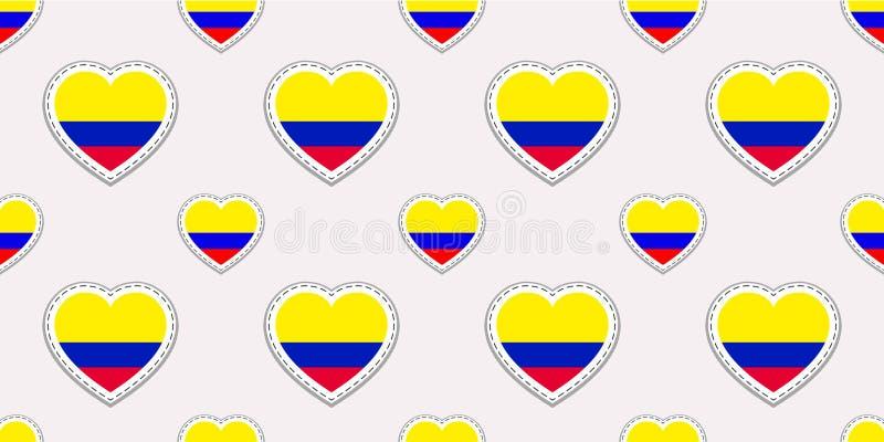 Предпосылка Колумбии Картина колумбийского флага безшовная Stikers вектора Символы сердец влюбленности Для страниц спорт, перемещ иллюстрация штока