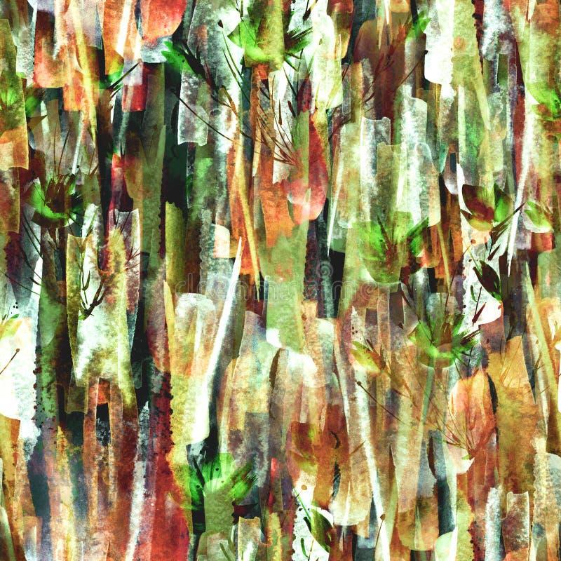 Предпосылка конспекта акварели безшовная Абстрактный завод мака цветка иллюстрация штока