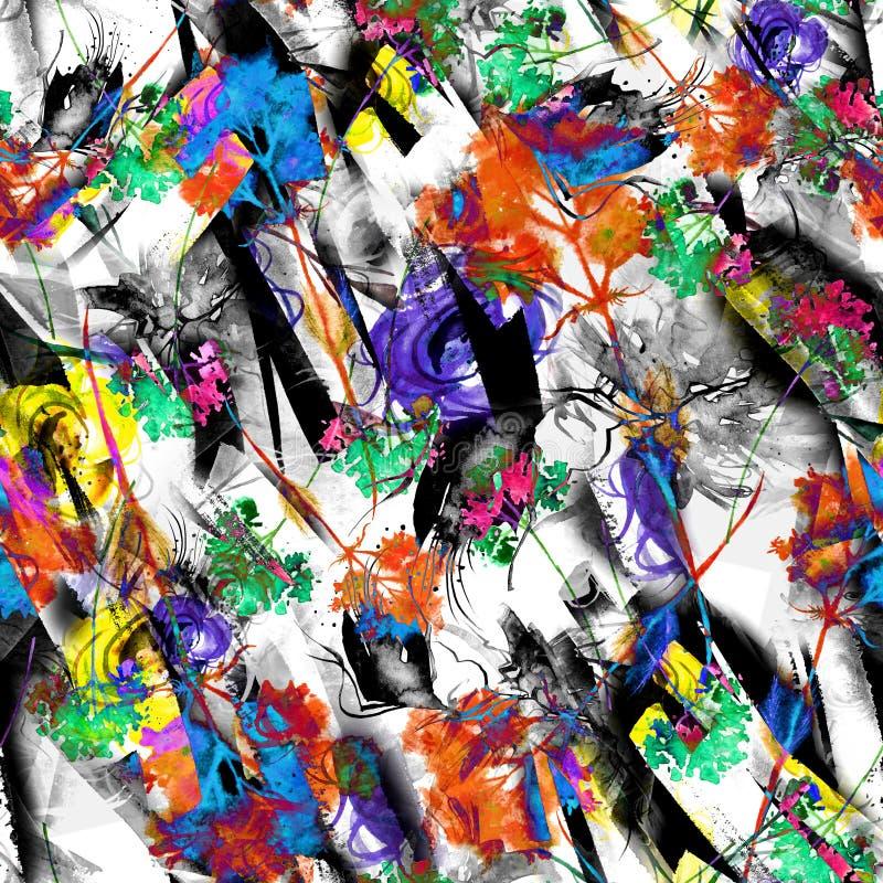 Предпосылка конспекта акварели безшовная, карта, картина, пятно, выплеск краски, помарки, развода Абстрактный силуэт цветка иллюстрация штока