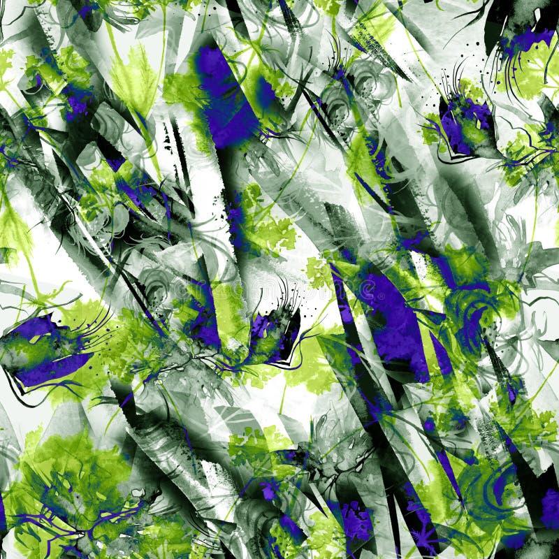 Предпосылка конспекта акварели безшовная, карта, картина, пятно, выплеск краски, помарки, развода Абстрактный силуэт цветка бесплатная иллюстрация