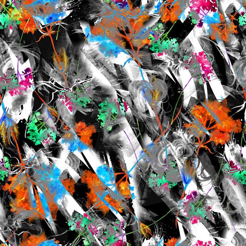 Предпосылка конспекта акварели безшовная, карта, картина, пятно, выплеск краски, помарки, развода Абстрактный силуэт цветка иллюстрация вектора
