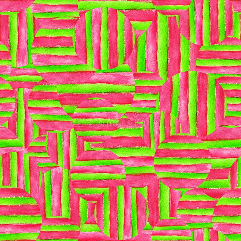 Предпосылка конспекта акварели безшовная Рука покрасила нашивки и круги иллюстрация штока