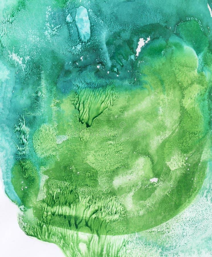 Предпосылка конспекта акварели, покрашенная вручную текстура, синь акварели и зеленые пятна Дизайн для предпосылок, обоев, крышек иллюстрация штока