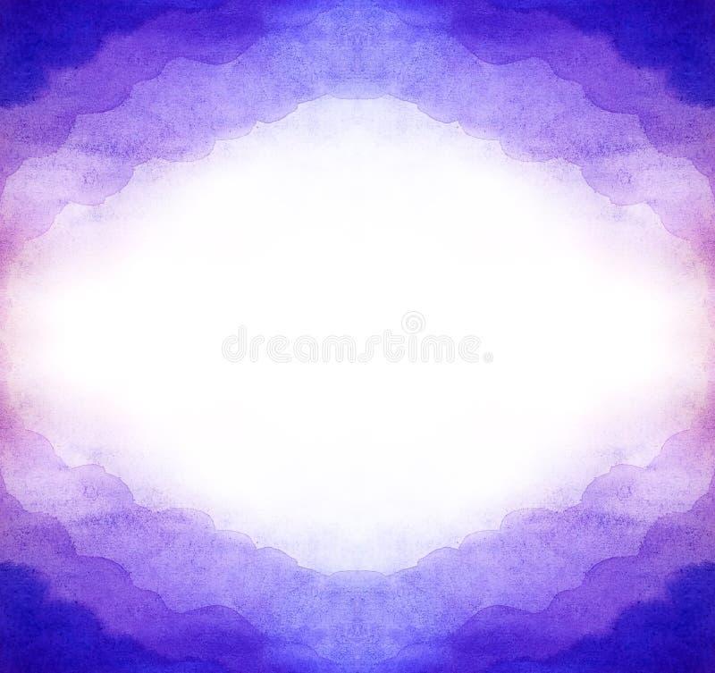 Предпосылка конспекта акварели пурпурная горизонтальная от симметричного рамка облаков воздуха Белая внутренность блеска в середи иллюстрация штока