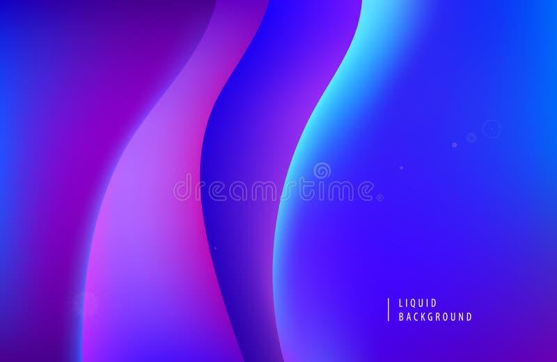 Предпосылка конспекта вектора пурпурная неоновая Концепция динамических жидких форм 3d современная Минимальный волнистый плакат п иллюстрация штока
