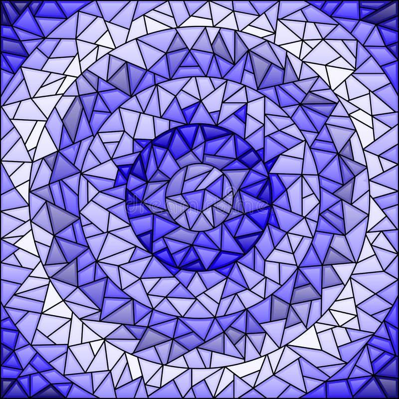 Предпосылка конспекта иллюстрации цветного стекла, синь гаммы, различные тени плитки иллюстрация вектора