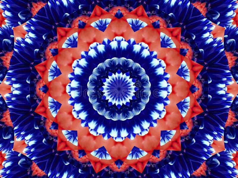 Предпосылка конспекта картины калейдоскопа цветка Красная голубая предпосылка калейдоскопа фрактали конспекта военно-морского фло иллюстрация вектора