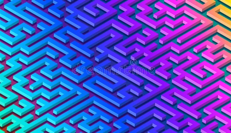 Предпосылка конспекта картины лабиринта с живым лабиринтом для плаката или обоев иллюстрация вектора