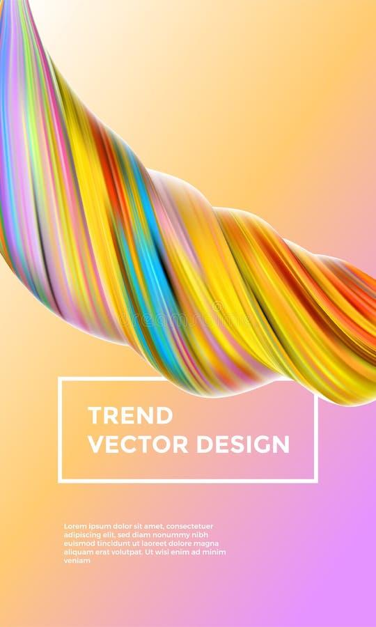 Предпосылка конспекта картины оранжевого вектора цифровая Творческие 3d пропускают волна краски Желтая краска жидкостного градиен иллюстрация вектора