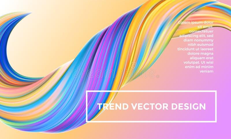 Предпосылка конспекта картины оранжевого вектора цифровая Творческие яркие 3d пропускают волна краски Ультрамодный желтый жидкост иллюстрация вектора