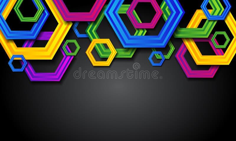 Предпосылка конспекта красочная геометрическая с шестиугольниками иллюстрация вектора