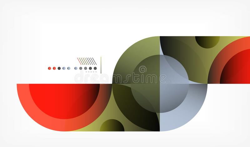 Предпосылка конспекта круга цвета геометрическая, современные формы с сообщением иллюстрация вектора