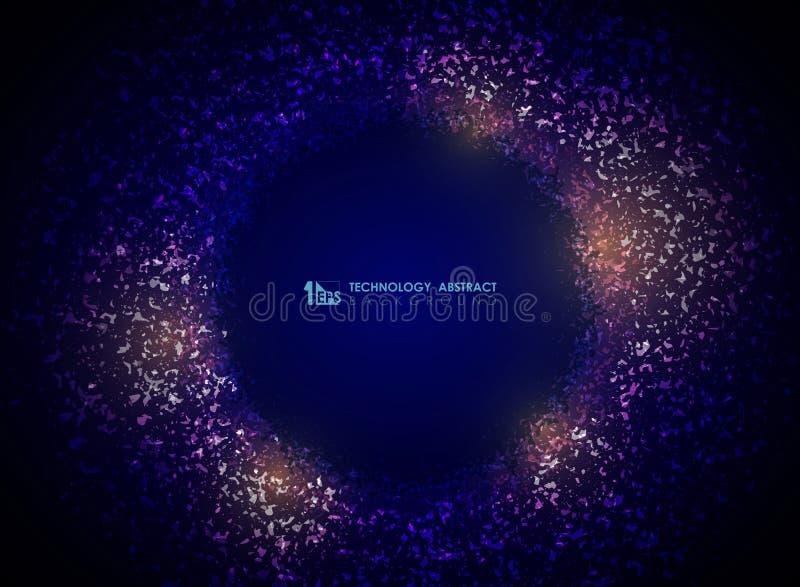 Предпосылка конспекта круга частицы технологии цвета градиента пурпурного Вектор eps10 иллюстрации иллюстрация штока