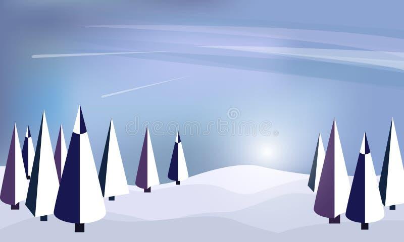 Предпосылка конспекта леса зимы плоская Просто чертеж детей Простой и милый ландшафт для вашего дизайна бесплатная иллюстрация