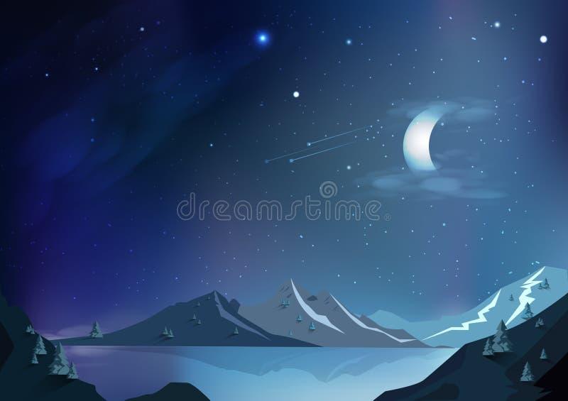 Предпосылка конспекта фантазии, волшебная сцена ночи с луной, fallin иллюстрация вектора