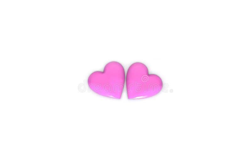 Предпосылка конспекта 3D дня Валентайн с 2 большими розовыми сердцами на белой предпосылке бесплатная иллюстрация
