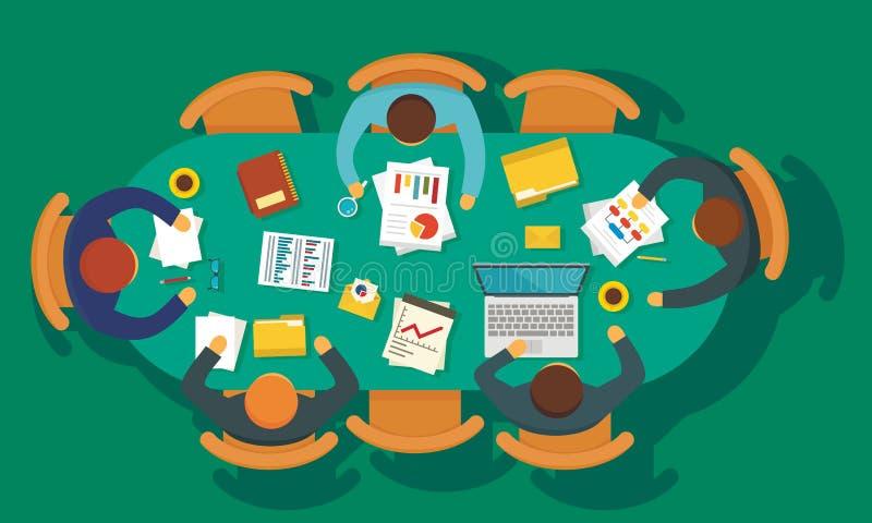Предпосылка концепции встречи планирования бизнеса, плоский стиль бесплатная иллюстрация