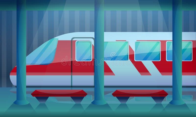 Предпосылка концепции железнодорожного вокзала, стиль мультфильма иллюстрация штока