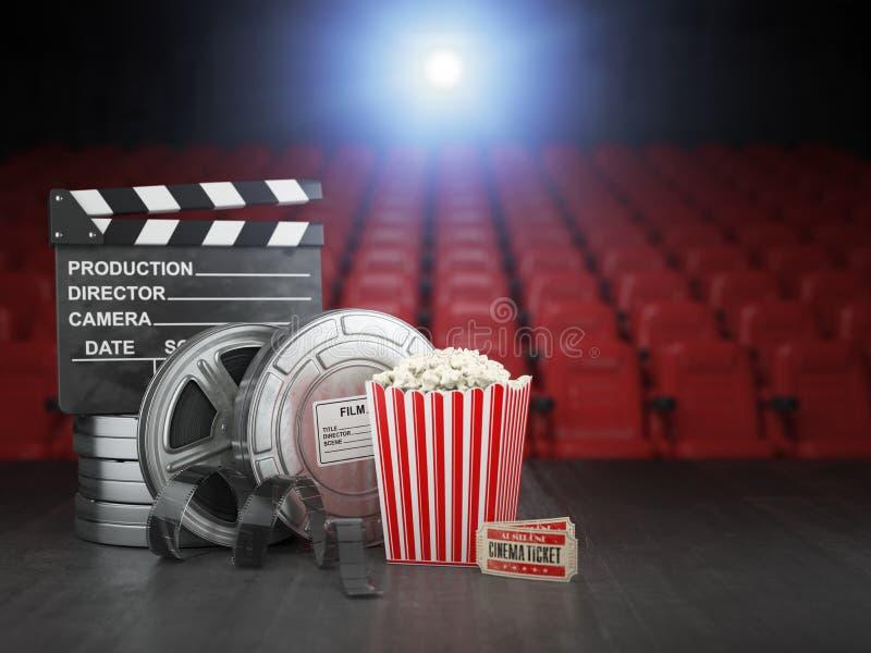 Предпосылка концепции кино, кино или домашнее видео Вьюрки фильма, хлоп иллюстрация вектора