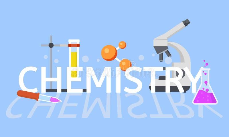 Предпосылка концепции образования химии, плоский стиль иллюстрация штока
