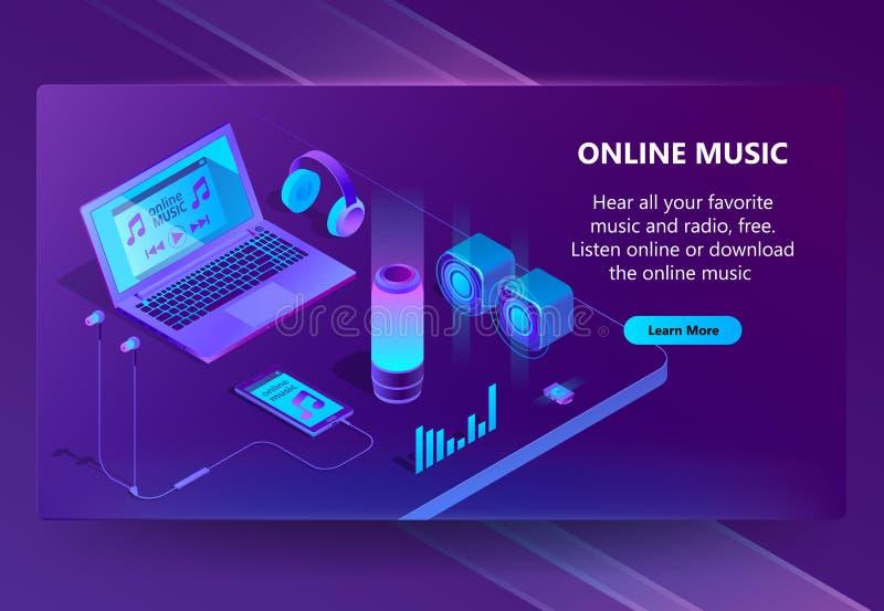Предпосылка концепции онлайн вектора музыки равновеликая иллюстрация штока