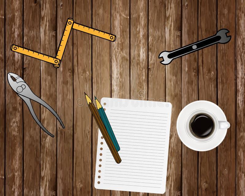 Предпосылка концепции подрядчика Взгляд сверху Место для оформления Светокопии и инструменты и оборудование подрядчика на деревян иллюстрация штока