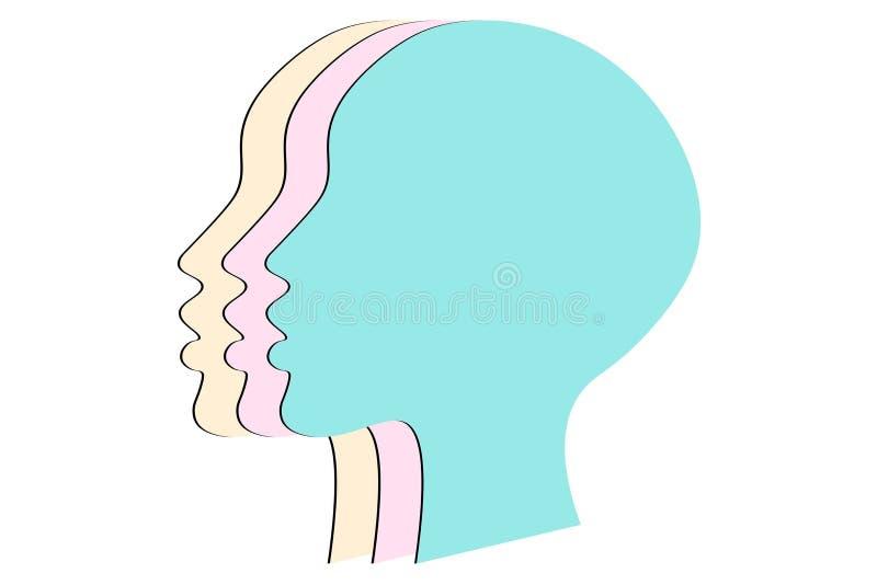 Предпосылка концепции прав женщин 3 силуэта женских голов с пастельными цветами Равность и феминизм иллюстрация вектора