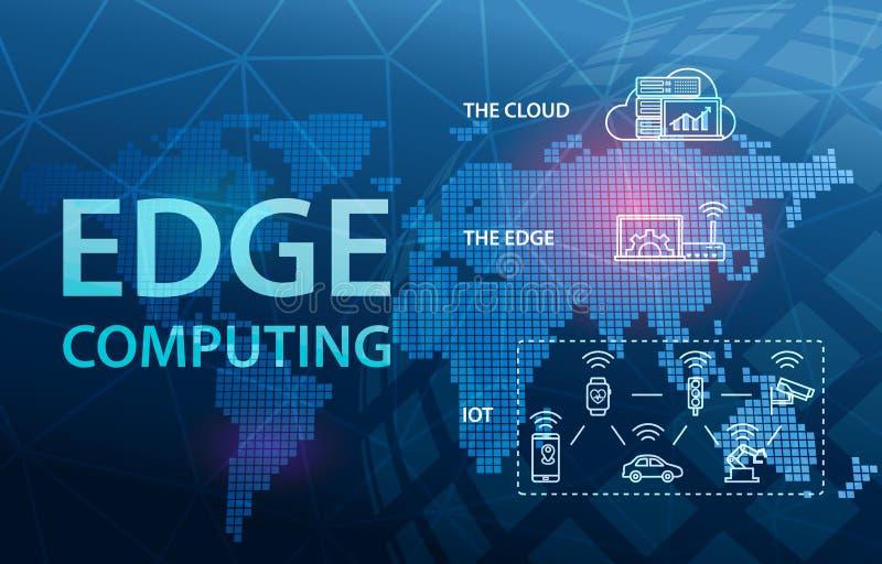 Предпосылка концепции технологии облака интернета края вычисляя иллюстрация вектора