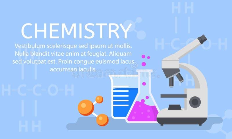 Предпосылка концепции химической лаборатории, плоский стиль иллюстрация штока