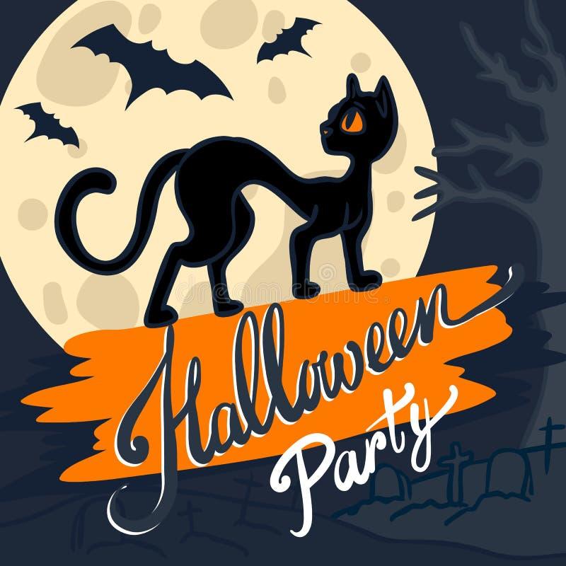 Предпосылка концепции черного кота хеллоуина, рука нарисованный стиль бесплатная иллюстрация