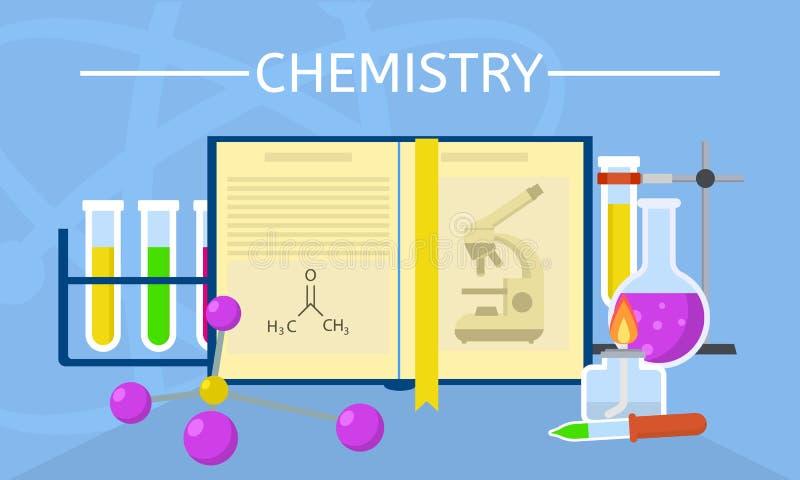 Предпосылка концепции эксперименту по химии, плоский стиль иллюстрация штока