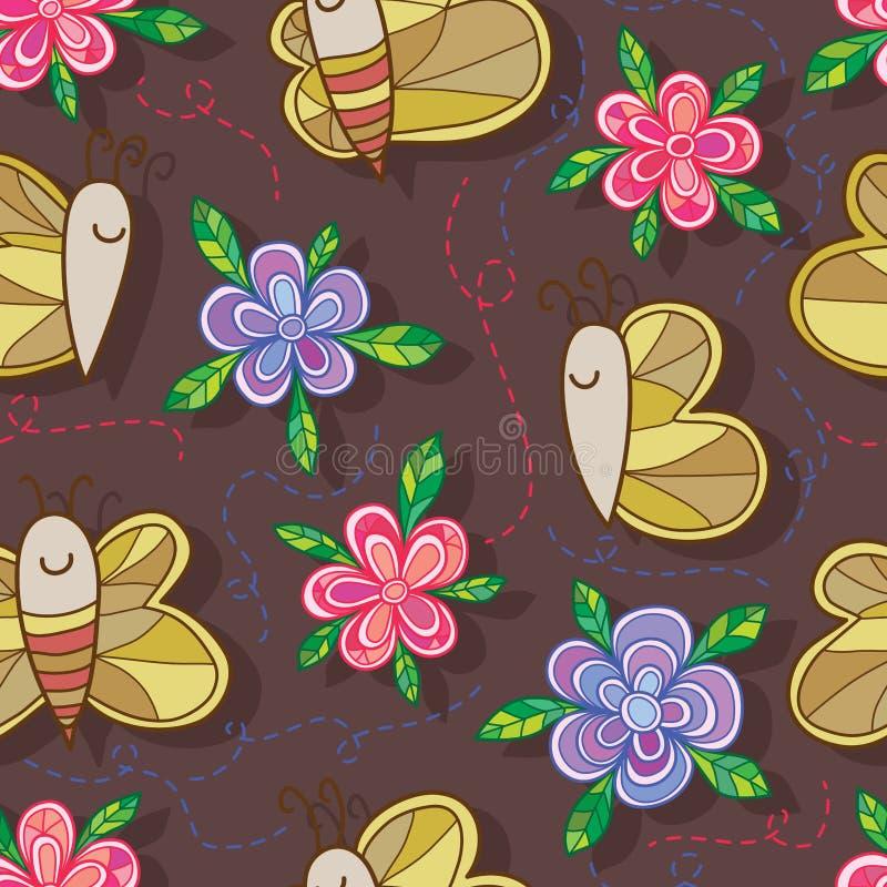 Предпосылка коричневого цвета картины цветка пчелы бабочки безшовная бесплатная иллюстрация