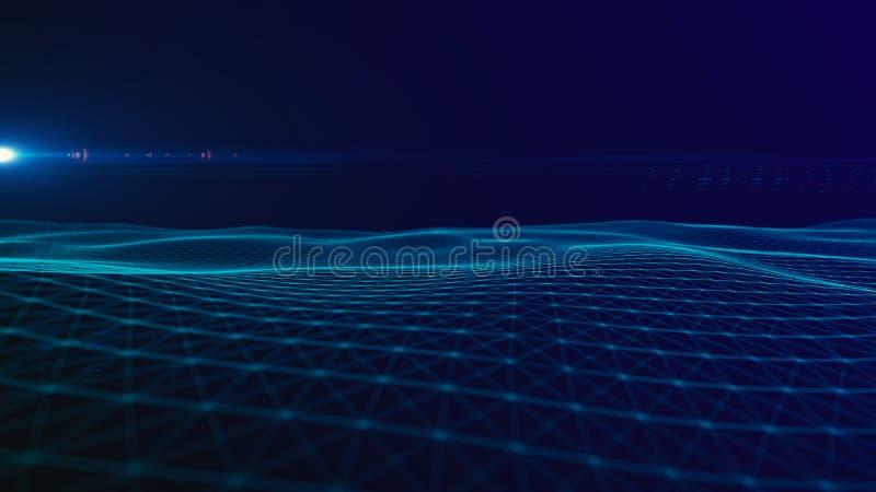 Предпосылка космоса конспекта предпосылки цифров полигональная с соединяясь линиями структурой соединения Предпосылка науки HUD стоковое изображение