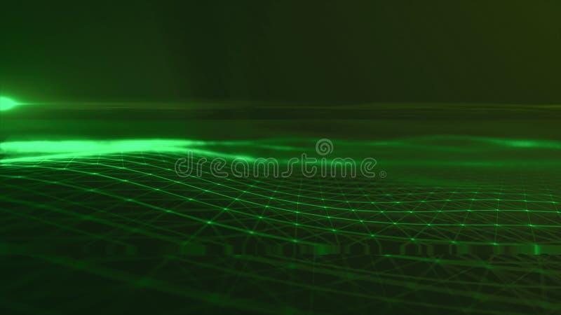 Предпосылка космоса конспекта предпосылки цифров полигональная с соединяясь линиями структурой соединения Предпосылка науки HUD стоковая фотография rf