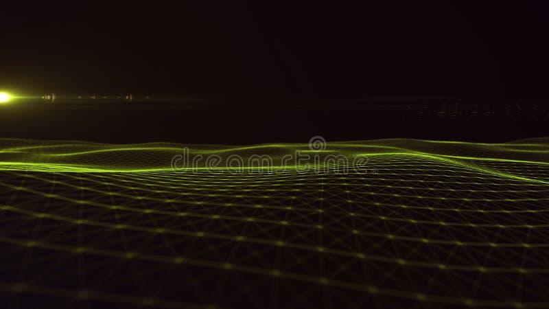 Предпосылка космоса конспекта предпосылки цифров полигональная с соединяясь линиями структурой соединения Предпосылка науки HUD стоковые фото