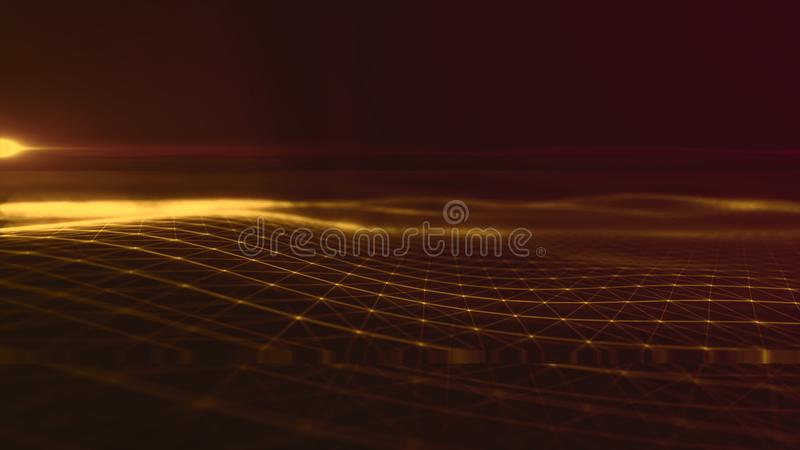 Предпосылка космоса конспекта предпосылки цифров полигональная с соединяясь линиями структурой соединения Предпосылка науки HUD стоковые изображения rf