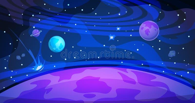 Предпосылка космоса планеты Науки ландшафта ночи вселенной галактики неба плакат плоской абстрактной современный Знамя космоса иллюстрация штока