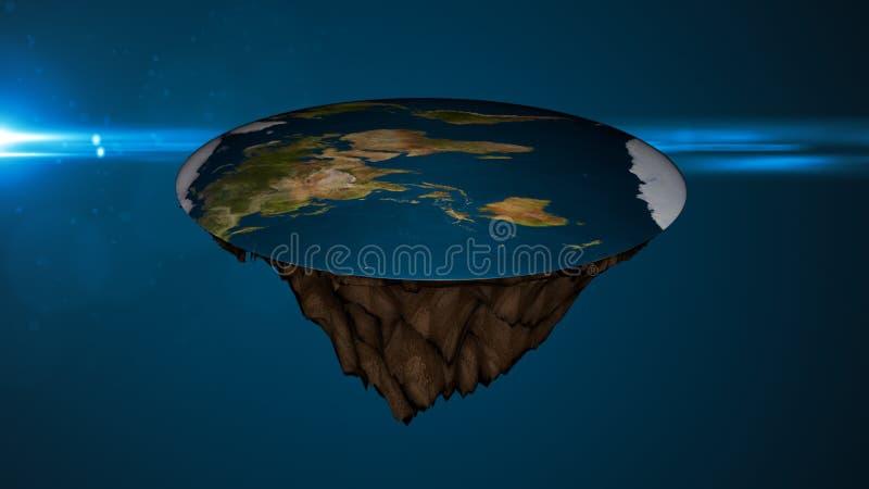 Предпосылка космоса с плоской землей Иллюстрация цифров иллюстрация вектора