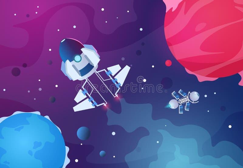 Предпосылка космоса шаржа Звезды планеты земли космического корабля планет чужеземца астероидные выпускают ракету Будущий фон кос иллюстрация вектора