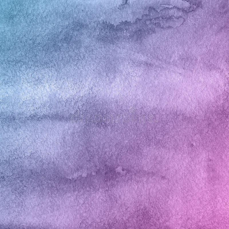 Предпосылка краски акварели голубого и пурпурного цветка творческая, помечая буквами эскиз scrapbook стоковые изображения