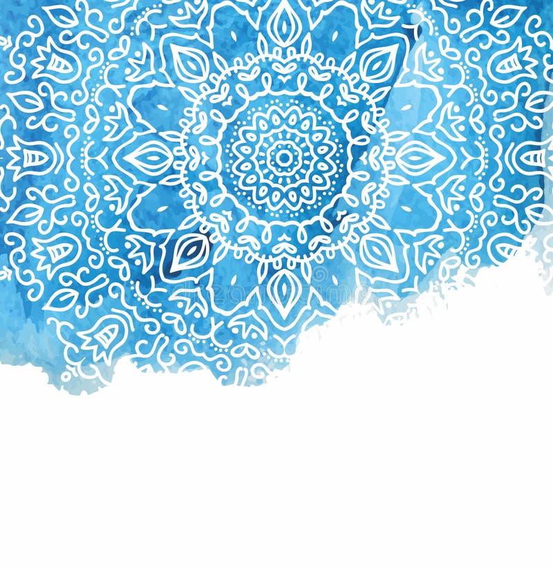 Предпосылка краски акварели при белая рука нарисованная вокруг doodles и мандал дизайн фона иллюстрация вектора