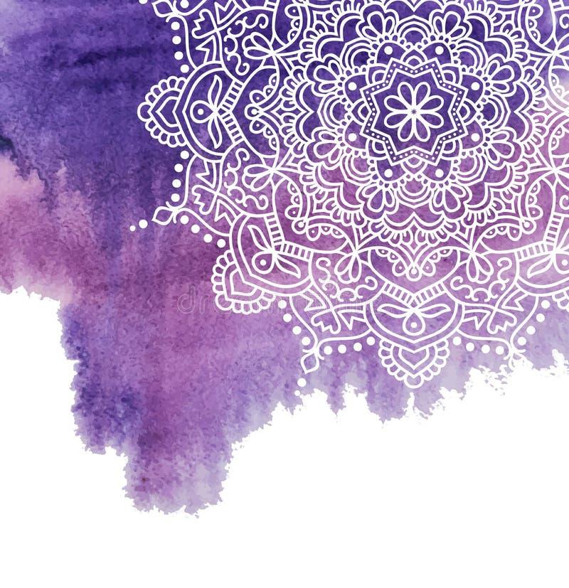 Предпосылка краски акварели с белой рукой нарисованной вокруг doodles и мандал дизайн фона бесплатная иллюстрация