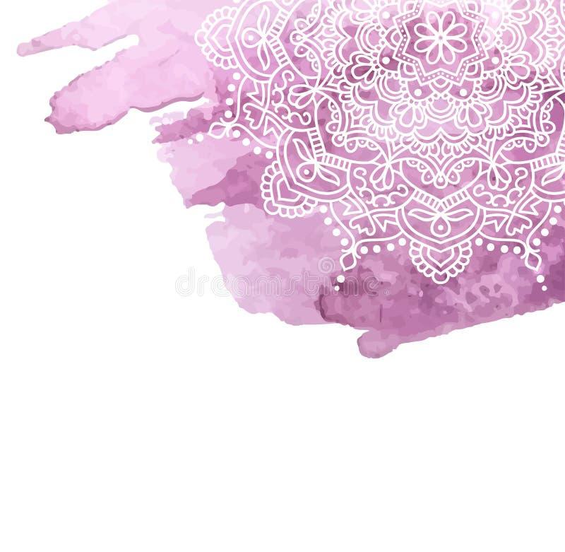 Предпосылка краски акварели с белой рукой нарисованной вокруг doodles и мандал дизайн фона иллюстрация штока