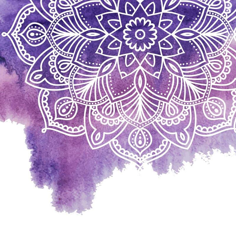 Предпосылка краски акварели с белой рукой нарисованной вокруг doodles и мандал дизайн фона иллюстрация вектора