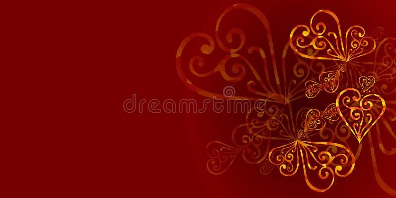 Предпосылка красного, бургундского цвета флористическая с орнаментом золота Королевская бургундская предпосылка цвета с сердцами  иллюстрация штока